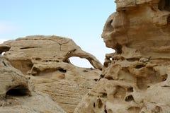 Sandstone arch in Jordan desert. Royalty Free Stock Photos
