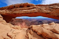 Sandstone arch over the canyon. Mesa Arch. Canyonlands National Park. Moab. Utah. United States Stock Photo