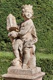 Sandstone baroque statues at the Buchlovice castle in the Czech Republic. Decorative sculptures in the garden. royalty free stock photos