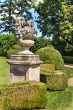 Sandstone baroque statues at the Buchlovice castle in the Czech Republic. Decorative sculptures in the garden. royalty free stock image