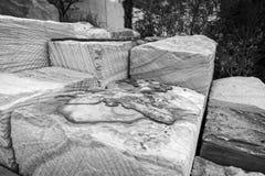 Sandstone blocks Barangaroo Reserve monochrome Stock Photos
