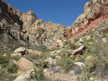Sandstone Bluffs in Red Rock Canyon, Nevada. Image shows a close up of part of the western edge of the Sandstone Bluffs found in the Red Rock Canyon National Stock Photography