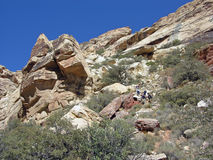 Sandstone Bluffs in Red Rock Canyon, Nevada. Image shows a close up of part of the western edge of the Sandstone Bluffs found in the Red Rock Canyon National stock photo