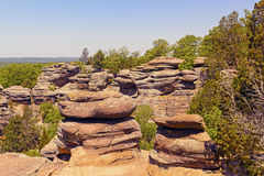 Sandstone bluffs in the Wilderness. Sandstone bluffs of the Garden of the Gods in Shawnee National Forest in Illinois Stock Images