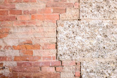 Sandstone and brick wall Stock Image
