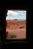 Sandstone Cabin Window to Desert Landscape Stock Photography