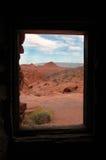 Sandstone Cabin Window to Desert Landscape Stock Photography