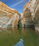 Sandstone canyon walls form round bowl Stock Images