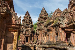 Sandstone carving at  banteay srei,Siem Reap Royalty Free Stock Images