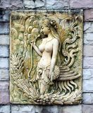 Sandstone carvings woman Royalty Free Stock Image