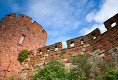 Sandstone castle tower and walls, UK Royalty Free Stock Photo