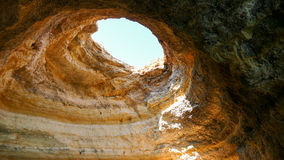 Sandstone cave - Popes hat - Portugal Algarve Royalty Free Stock Photo