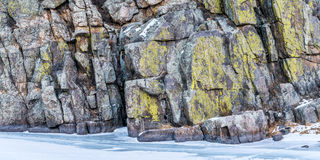 Sandstone cliff and frozen river Royalty Free Stock Image