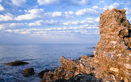 Sandstone cliff. Mediterranean Sea, Turkey Royalty Free Stock Image