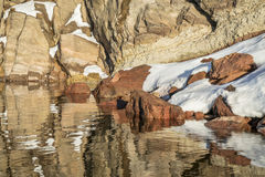 Sandstone cliff, snow and water Stock Images