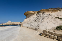 Sandstone cliffs above the Xwejni Bay. On Maltese island Gozo Royalty Free Stock Images