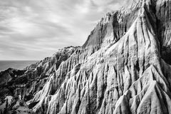 Sandstone cliffs forming strange shapes and textures Stock Images