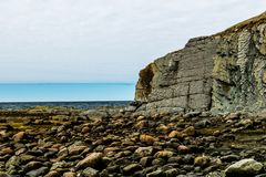 Sandstone cliffs of Green Point, Grose Morne National Park, Newfoundland, Canada royalty free stock photo