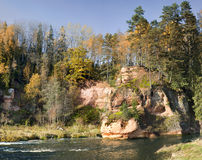 Sandstone Cliffs In Gaujas National Park, Latvia Stock Photography