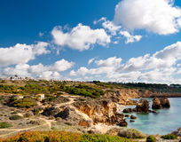 Sandstone cliffs on Portugese shore Royalty Free Stock Photography