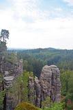 Sandstone cliffs Prachov Rocks in Czech Republic stock photo
