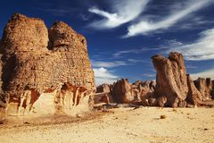 Sandstone cliffs in Sahara Desert Stock Image