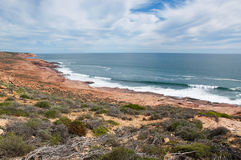 Sandstone Coast Line: Red Bluff, Western Australia. Elevated view at Red Bluff overlooking the red sandstone coast line with green plants and turquoise Indian Royalty Free Stock Photography