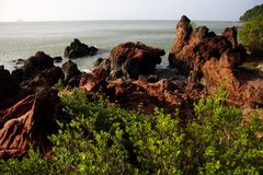 Sandstone on the coastal. Royalty Free Stock Photos