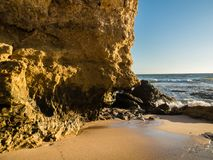 Sandstone coastline with sandy beaches at Gale. On the southern coast of Portugal Stock Image