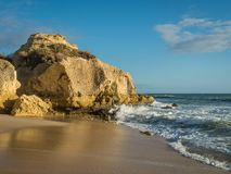 Sandstone coastline with sandy beaches at Gale. On the southern coast of Portugal Stock Photography