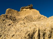 Sandstone coastline with sandy beaches at Gale. On the southern coast of Portugal Royalty Free Stock Images