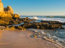 Sandstone coastline with sandy beaches at Gale. On the southern coast of Portugal Royalty Free Stock Image