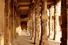 Sandstone columns at Qutab Minar, Delhi, India Royalty Free Stock Photography