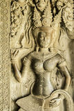 Sandstone Craved Angel on The Wall of Angkor Wat, Cambodia Stock Photo