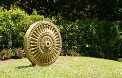 Sandstone craving Dhamma Wheel Royalty Free Stock Images