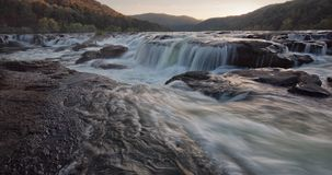 Sandstone Falls, WV. Water flowing at sunset stock photo