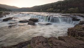 Sandstone Falls, WV. Water flowing at sunset stock image