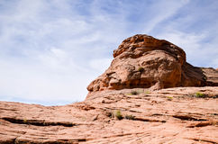 Sandstone formation against blue skies