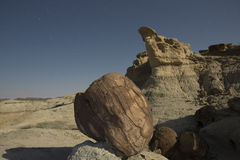 Sandstone formation in Ischigualasto at night, Argentina Stock Photography