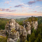 Sandstone formations in Bohemian Paradise, hdr royalty free stock photography