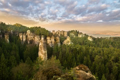 Sandstone formations in Bohemian Paradise, hdr stock images