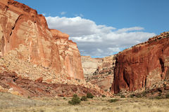 Sandstone Formations Capital Reef National Park. Colorful sandstone formationsof the Grand Wash Capital Reef National Park Stock Photos