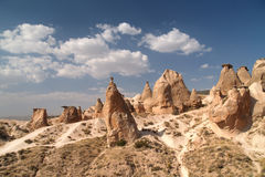 Sandstone formations in Cappadocia Royalty Free Stock Photos