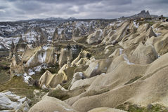 Sandstone formations in Cappadocia. royalty free stock photography