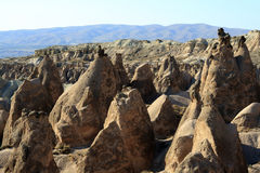 Sandstone formations in Cappadocia Royalty Free Stock Images