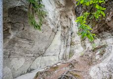 Sandstone formations close up. The cliff of Sietiniezis, Latvia. Gauja National Park royalty free stock photos