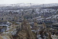 Sandstone formations in town Goreme. stock photos