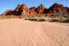 Sandstone Hills above a wash in Valley of Fire Stock Image