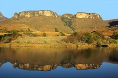 Sandstone mountains and reflection Royalty Free Stock Photography