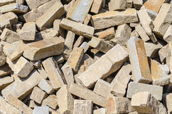 Sandstone, natural stone, quarry stone warehouse space Royalty Free Stock Images
